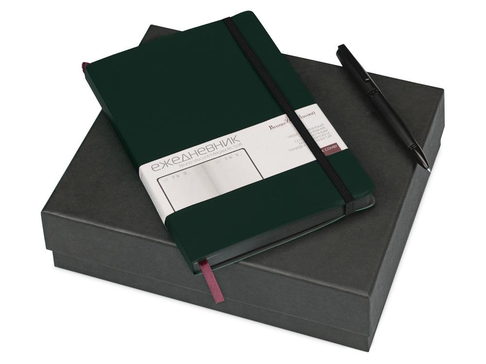 Подарочный набор Bruno Visconti Megapolis Soft: ежедневник А5 недат., ручка шарик., зеленый/черный