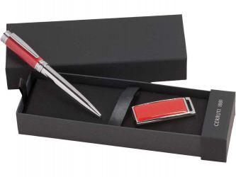 Набор Cerruti 1881: ручка шариковая, флеш-карта USB 2.0 на 8 Гб Zoom Red