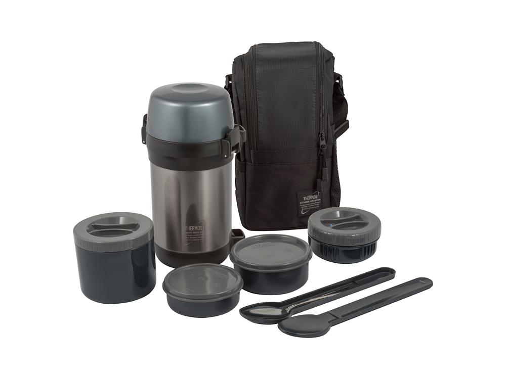 Термос из нерж.стали с пластиковыми контейнерами и ложкой тм THERMOS JLS-1601 Food 1.6L, серый