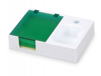 Подставка под ручку и скрепки Потакет, белый/зеленый