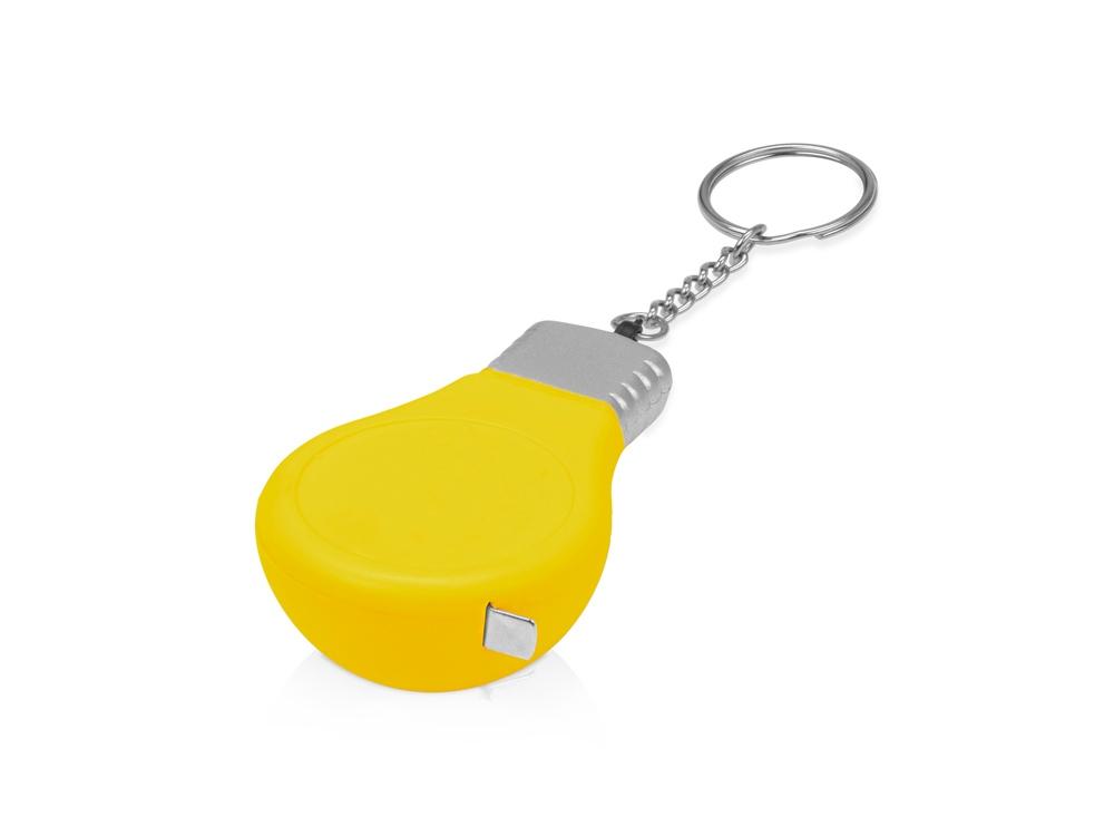 Брелок-рулетка для ключей Лампочка, желтый/серебристый