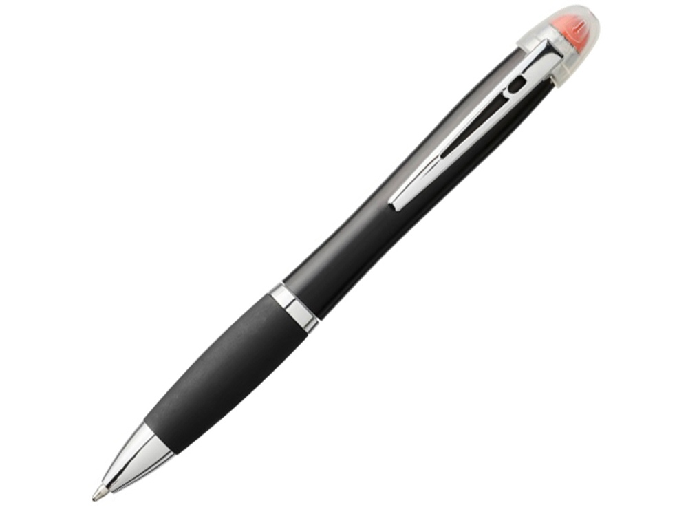 Светящаяся шариковая ручка Nash со светящимся черным корпусом и рукояткой, оранжевый