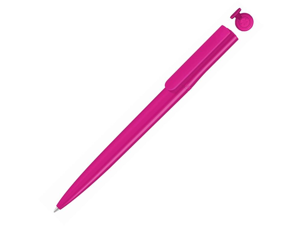 Ручка шариковая пластиковая RECYCLED PET PEN switch, синий, 1 мм, розовый