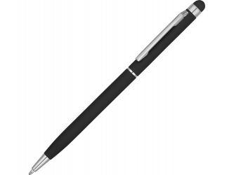 Ручка-стилус шариковая Jucy Soft с покрытием soft touch, черный