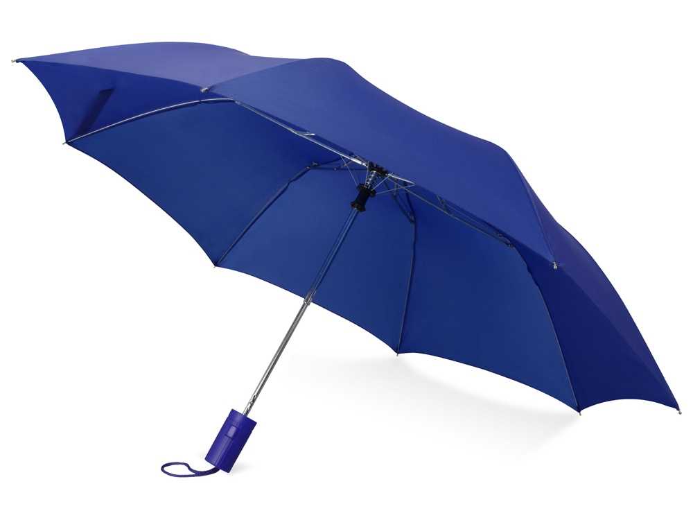 Зонт складной Tulsa, полуавтоматический, 2 сложения, с чехлом, синий (Р)