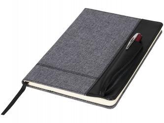 Блокнот А5 с кожаной вставкой, серый/черный