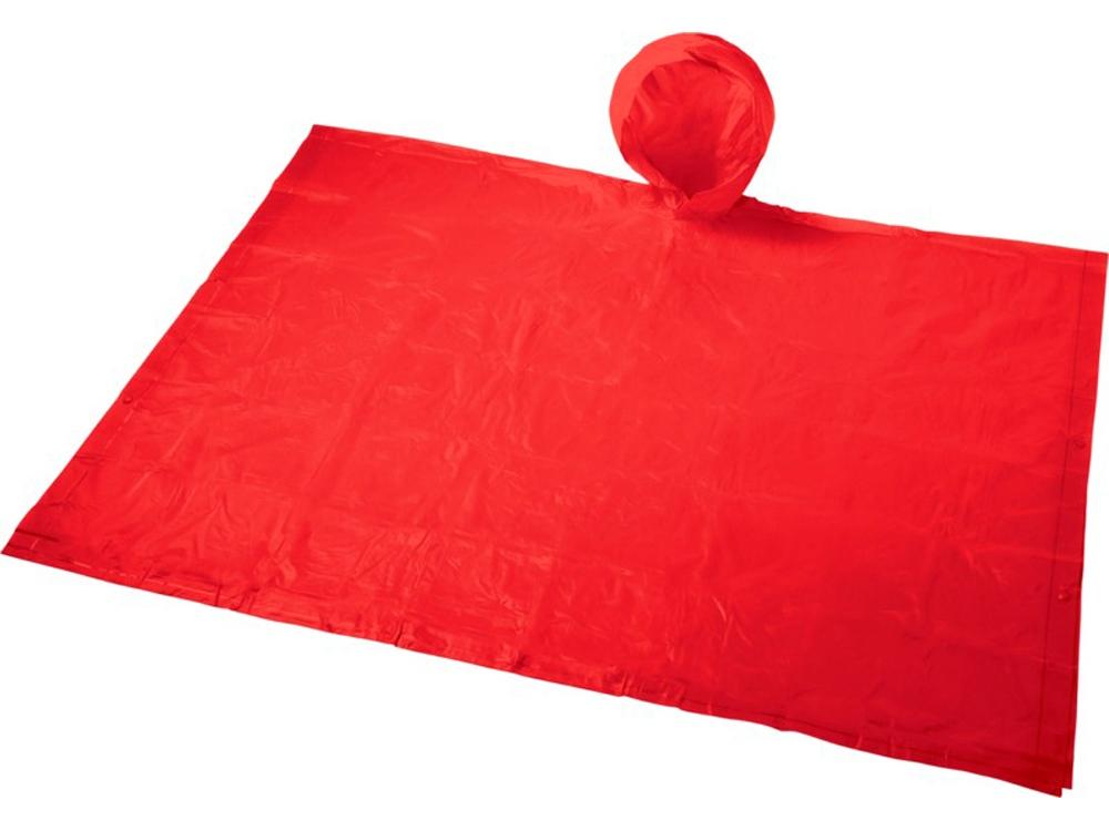 Складывающийся полиэтиленовый дождевик Paulus в сумке, красный