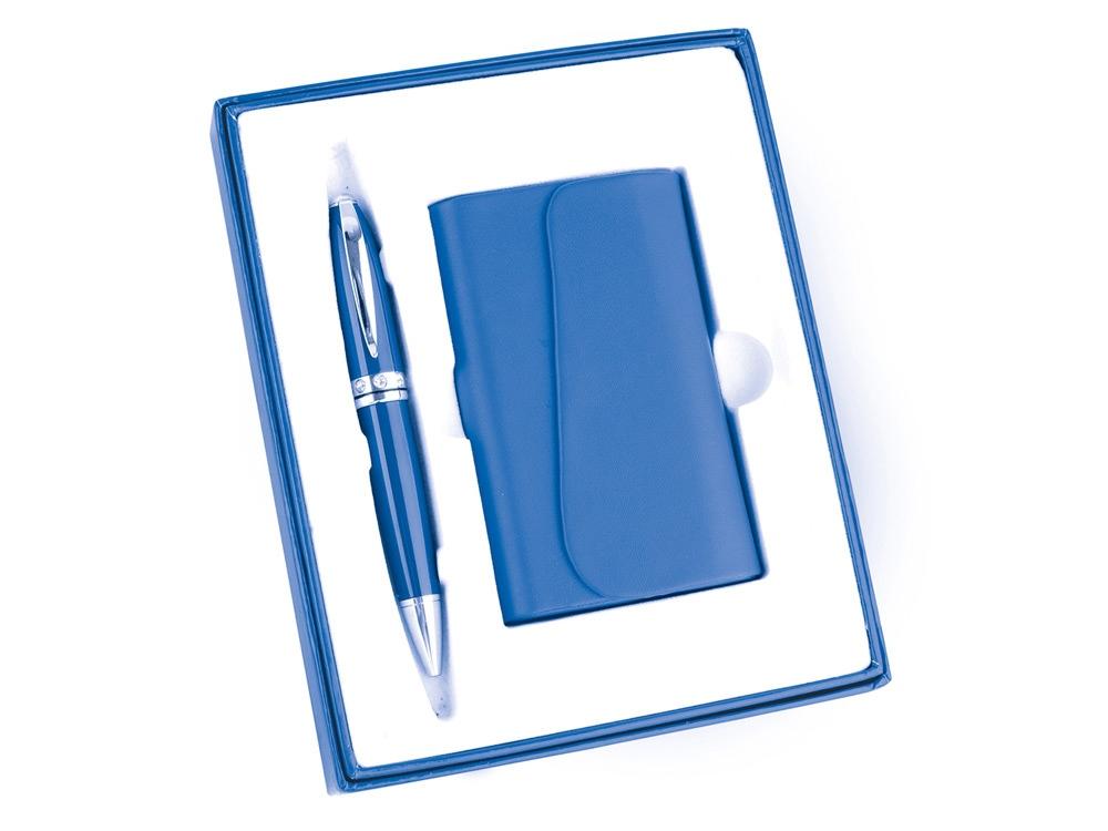 Набор Эстет: визитница, ручка шариковая, синий (Р)