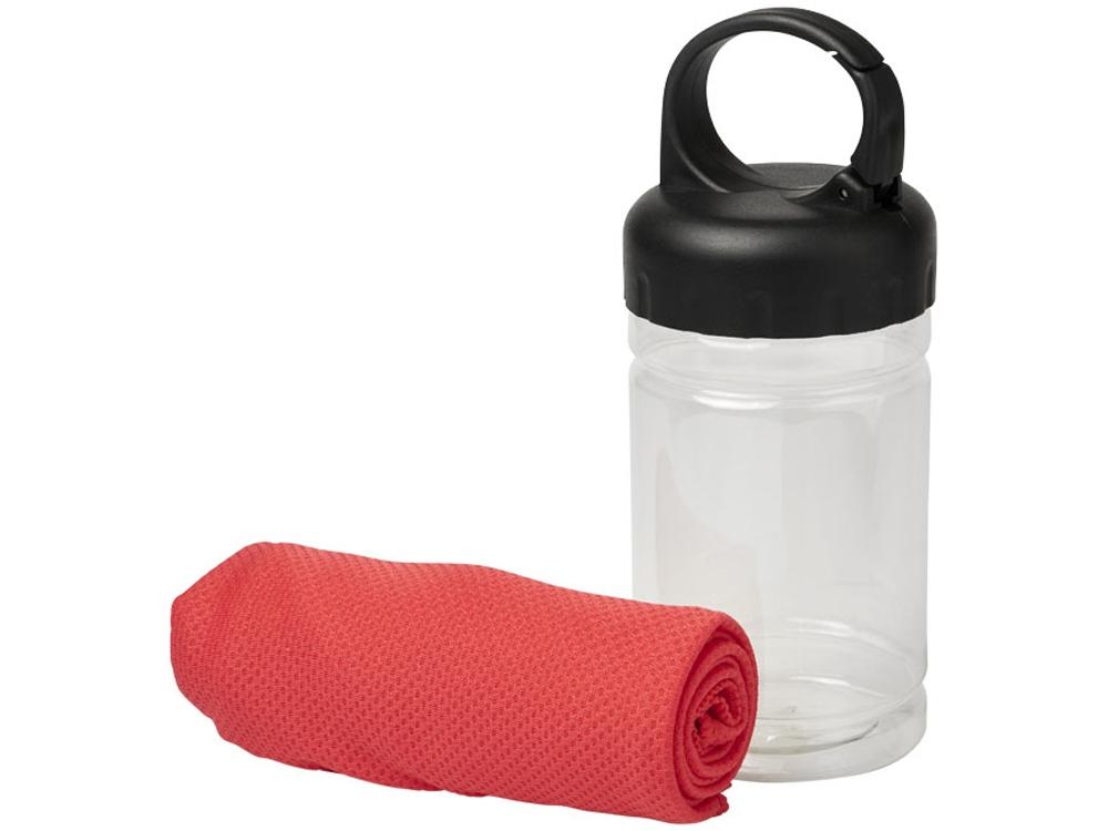 Охлаждающее полотенце Remy в ПЭТ-контейнере, красный