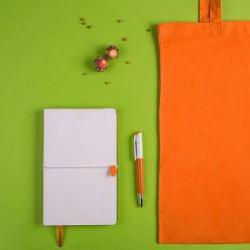 Набор подарочный WHITE&YOU: бизнес-блокнот, ручка, сумка, бело-оранжевый