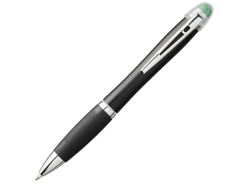 Светящаяся шариковая ручка Nash со светящимся черным корпусом и рукояткой, зеленый