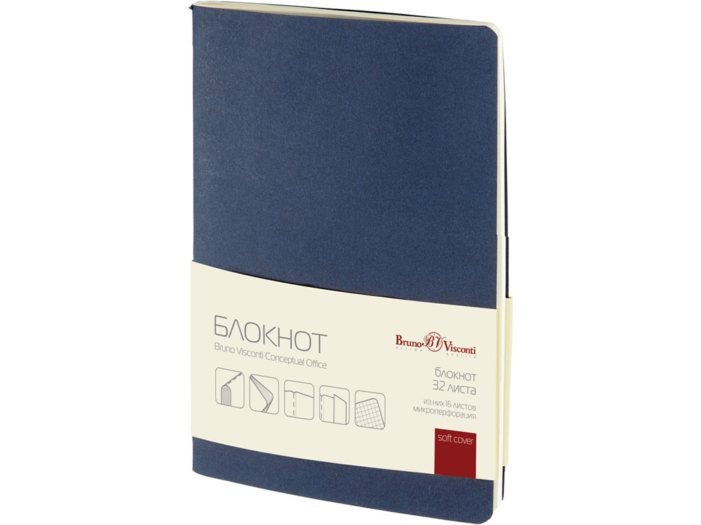 Бизнес – блокнот А6 (105 х 148 мм) Conceptual Office 32 л., синий