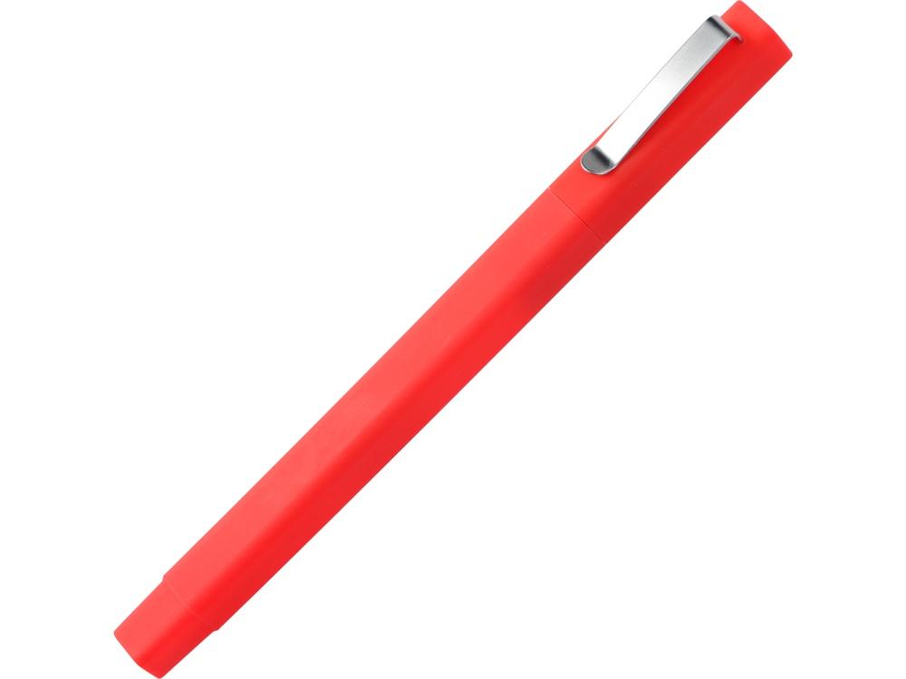 Ручка шариковая пластиковая Quadro Soft, квадратный корпус с покрытием софт-тач, красный