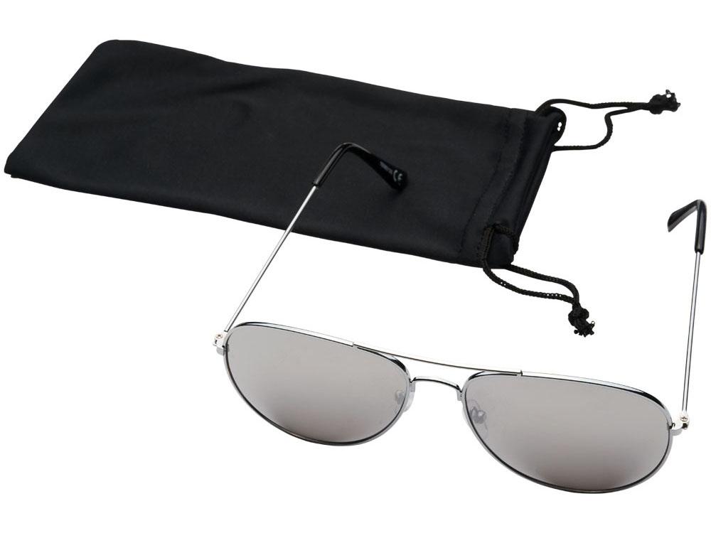 Солнечные очки Aviator с цветными зеркальными линзами, серебристый