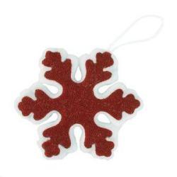 Украшение новогоднее СНЕЖИНКА, 15cм, пластик, ткань, красный