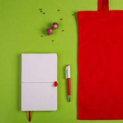 Набор подарочный WHITE&YOU: бизнес-блокнот, ручка, сумка, бело-красный